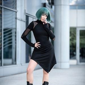Cyber Goth Fishnet Mini Dress Small to plus sizes futuristic industrial punk