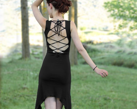 Mizuki dress / Backless dress /Summer dress / Pixie dress / Festival clothes / Gothic dress / Elven clothing / Goth / Fairy dress / LBD