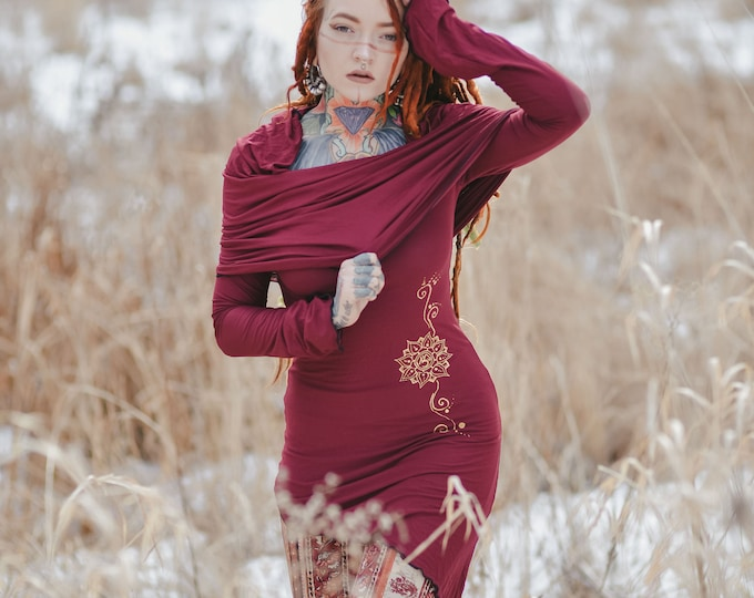 Tunic pixie hooded dress  / Cowl Neck pixie dress / Sacred geometry dress / Elven dress / winter dress / festival dress / Elven clothing