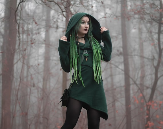 Hooded winter jacket. Goth jacket. Faery jacket. Green jacket,  hooded coat, fantasy jacket. Winter coat. Pixie coat. Game of thrones
