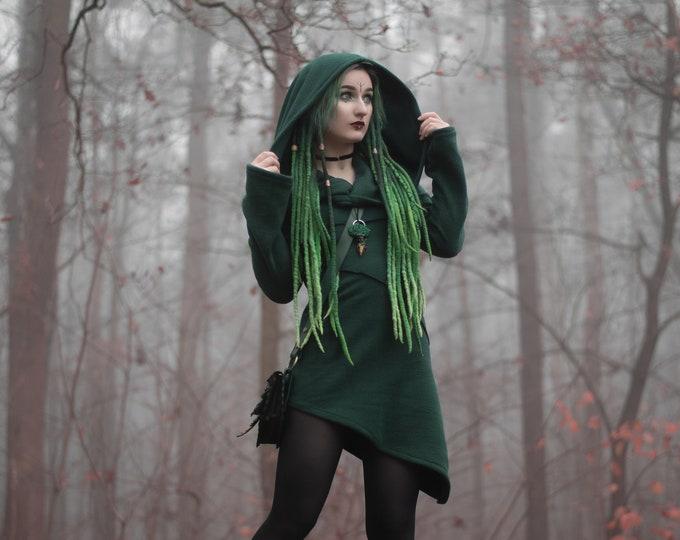Hooded winter jacket. Goth jacket. Faery jacket. Green jacket,  hooded coat, fantasy jacket. Winter coat. Pixie coat. Game of thrones