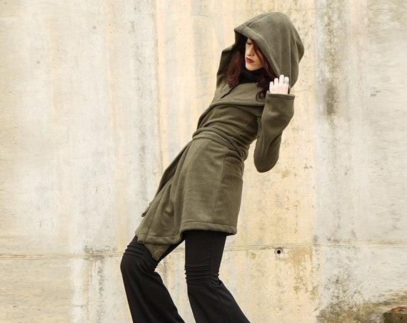 Fleece hooded coat. Long wrap winter coat. Green fleece hooded jacket. Pixie coat. Hoodie jacket. Winter fleece jacket. Gothic jacket. Goth