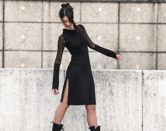 Sweatshirt Dress / Long Sleeve Dress / Winter Black Dress / Goth dress / Turtleneck Dress / Minimal dress / gothic clothes / Minimalism
