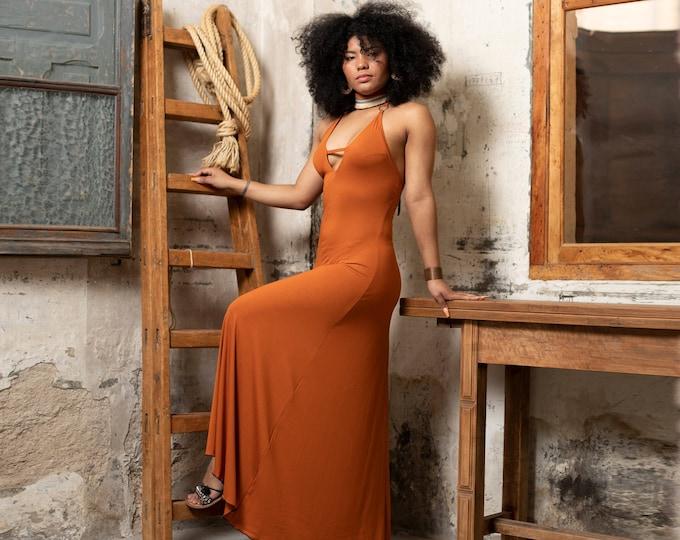 Orange summer bohemian dress. Nomad wedding dress. V-neck maxi dress. Boho Maxi dress. Bridesmaid boho dress. Halter maxi dress. Organic