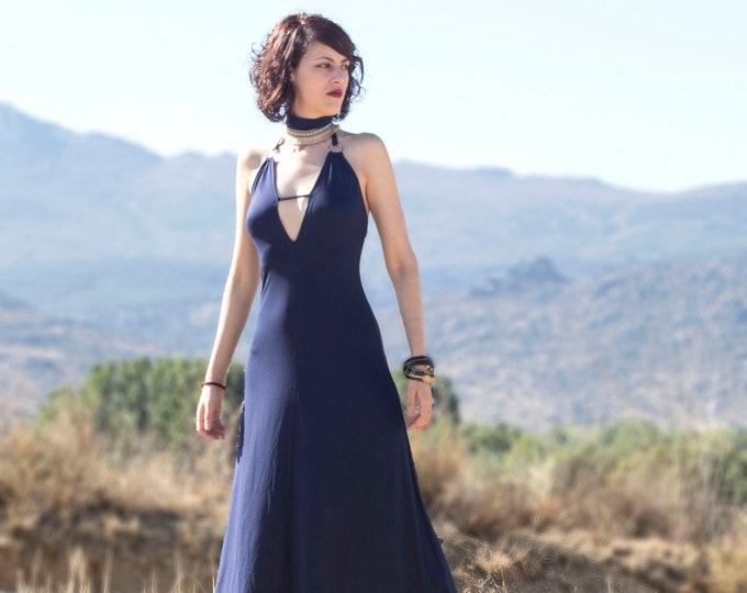 Navy blue boho dress. V neck midi dress. Dark blue midi dress. Halter Boho dress. Elegant dress. A line dress. Festival dress. Burning man