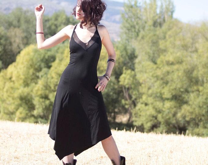 Goth black dress. Asymmetrical black dress. Festival dress. Black asymmetric dress. witchy mesh dress. Summer strap dress. Elven dress.