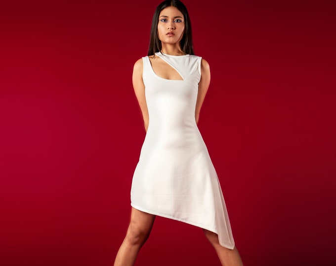 White futuristic asymmetric dress. Sleeveless futuristic white dress. Star wars dress. Asymmetric dress. Goth dress. Minimalist dress.