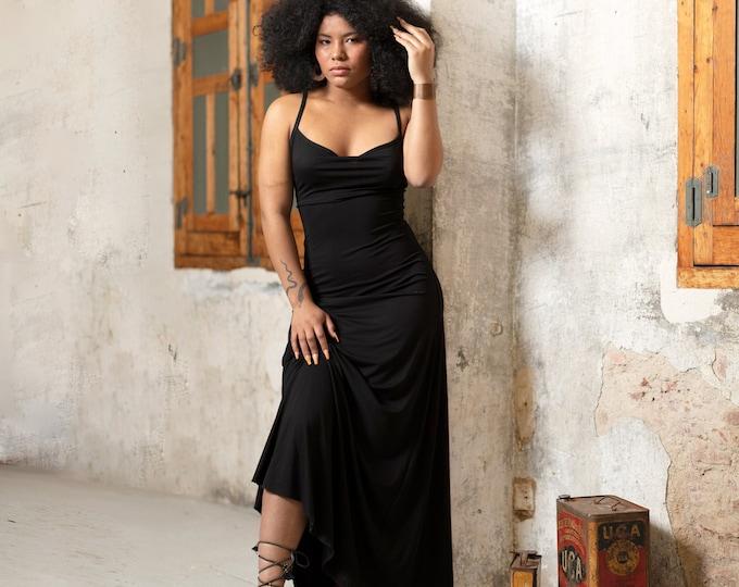 Black maxi dress for woman | Open back dress | Summer gothic dress | Prom Dress | Bohemian Clothing | Backless dress | wedding dress |