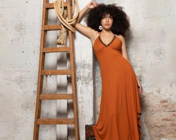 V-neck slip maxi summer dress. Orange Bohemian slip dress. Low back dress. Women Maxi dress. Boho dress. Evening dress. Bohemian clothes