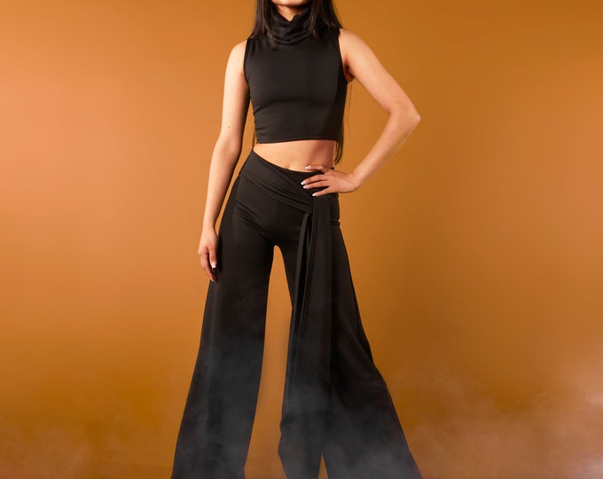 Back maxi wide leg pants, minimalist wide leg pants, performance pants, Wide Leg Cropped Pants, Long Winter Trousers, Loose Fitting Pant,