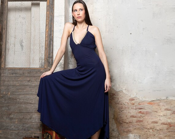 Navy blue V-neck slip maxi summer dress. Bohemian slip dress. Backless summer dress. Boho dress. Evening dress. Beach dress. Organic clothes