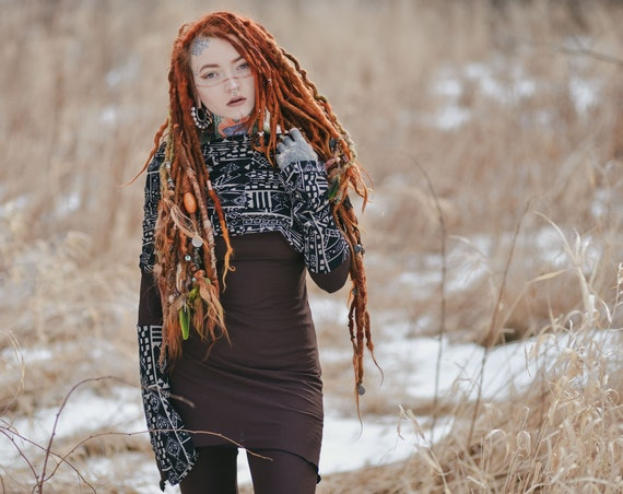 Elven dress. Boho dress. Cowl neck pixie dress. Gypsy hooded dress. Faery dress. Tunic dress. Elven hood dress. Pixie dress, festival