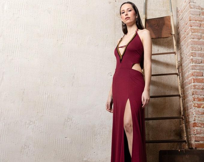 Bordeaux maxi dress. Wedding bohemian dress. Backless summer boho dress. V-neck maxi prom dress. Native Maxi long dress. Party dress
