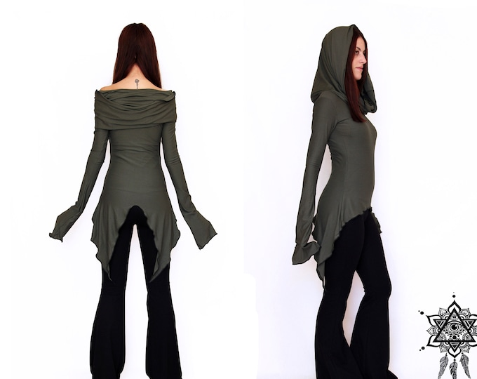 Hikari Cowl neck tunic. Pointy hooded tunic. Hooded dress. Pixie tunic dress. Hooded pullover. Goth dress. Pixie clothing. Elven dress.