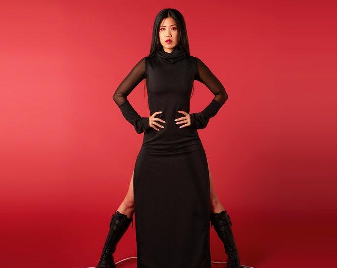 Black maxi long dress. Goth maxi dress. Rave dress. Party dress. Goth dress. Minimalist dress. Cyber punk clothes. Long sleeve maxi dress.