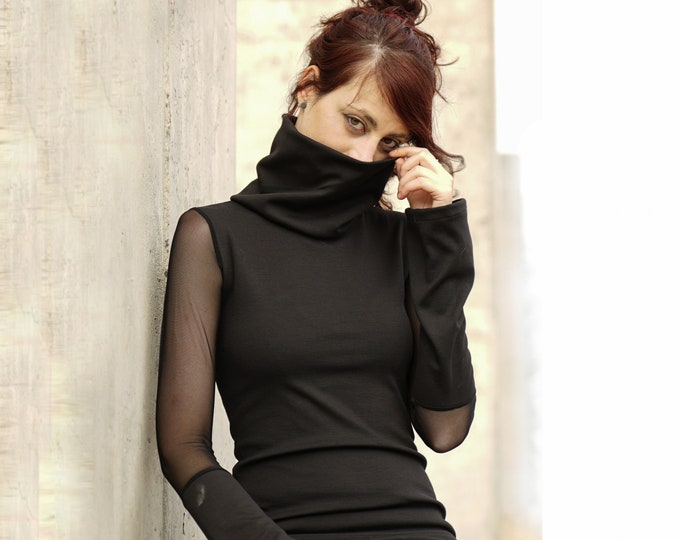 Black mesh top / Black casual sweater / Long sleeves top / Black blouse / Cyberpunk / Gothic clothing / Minimal top / turtle neck top /