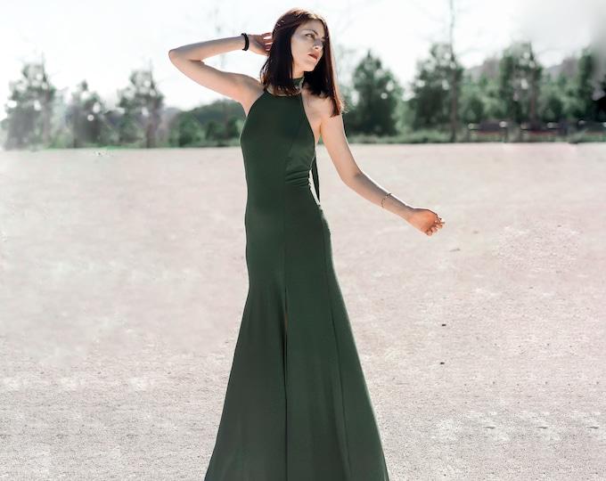 Oshun boho dress. Wedding maxi dress. Green long dress. Boho maxi dress. Bohemian clothing. elegant maxi dress. Nomad Halter long dress.
