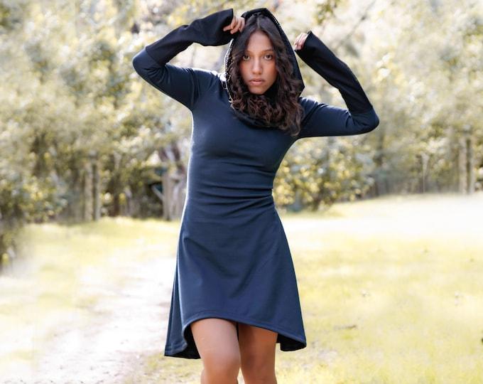 Hooded Long sleeve winter dress. Thermal dress. Goth dress. Winter dress. Elven clothes. Elven hooded dress. Medieval dress. Medieval hooded