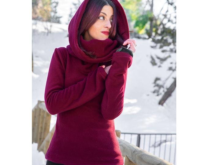Maxi hooded winter polar fleece. Polar winter sweater with maxi hood. Cowl neck fleece winter jacket. Elven Fleece Polar hooded sweatshirt.