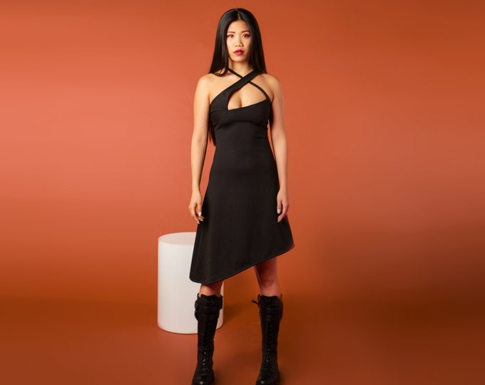 Little black dress. Asymmetric goth dress. Black Summer dress. Party dress. Gothic dress. Goth clothes. Rave clothing. Cyberpunk dress.