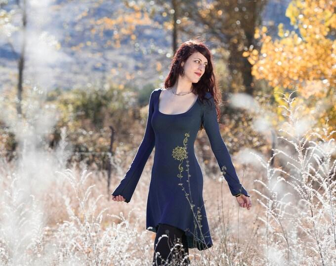 Navy blue  hi-low dress. Winter dress. Long sleeve dress. bodycon dress. Elven dress. Gypsy dress. Winter dress. Yoga clothes. Teal dress.