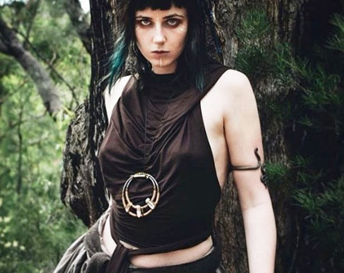 Halter hooded top. Wrap crop top. backless top. Summer top. Festival clothing. Yoga clothes. Gypsy top. Burning man. Cowl neck top. Fairy