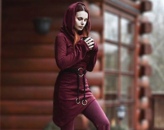 Hooded black polar fleece. Gothic Jacket. Winter coat, Pixie jacket, faery polar fleece, winter jacket, cowl neck jacket. medieval jacket