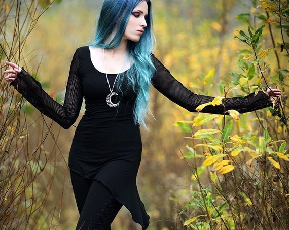 Gothic mesh top / Black top / Long sleeve top / Black blouse / Asymmetric top / Goth clothes / Cybergoth / Pixie top / dark fashion