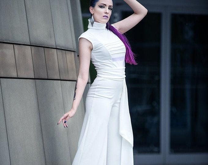 White wide leg jumpsuit. Minimalist White jumpsuit. Wedding Jumpsuit. Turtle neck onesie. futuristic jumpsuit, goth romper, goth clothes