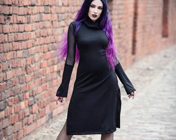Turtle neck black dress. Long sleeve tunic dress. Black midi sleeve dress. Gothic clothes. Goth dress. Futuristic dress. Cyber punk dress.
