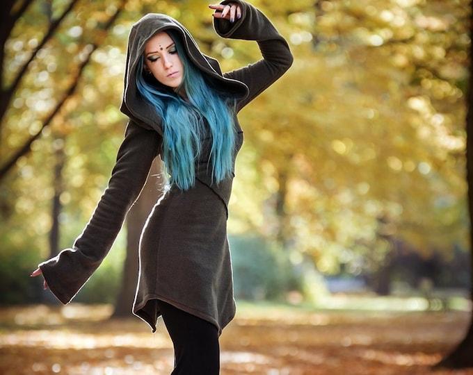 Pixie fleece jacket. Winter hoodie jacket. Autumn Jacket. Faery jacket. Polar fleece. Pixie coat. Fantasy jacket. Elven coat Winter jacket.
