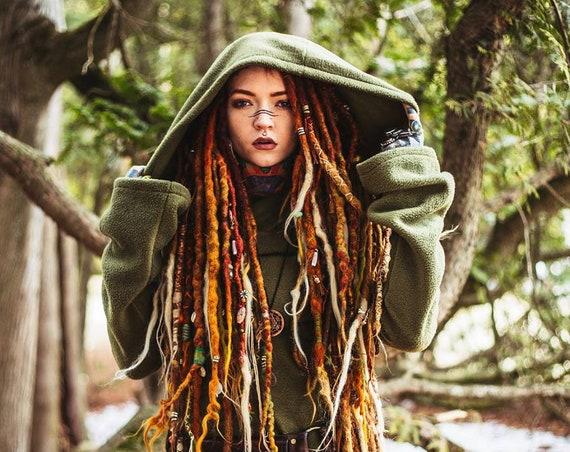 Pixie fleece jacket. Winter hoodie jacket. faery jacket. Polar fleece. fantasy jacket. Game of thrones. Medieval jacket. Green coat