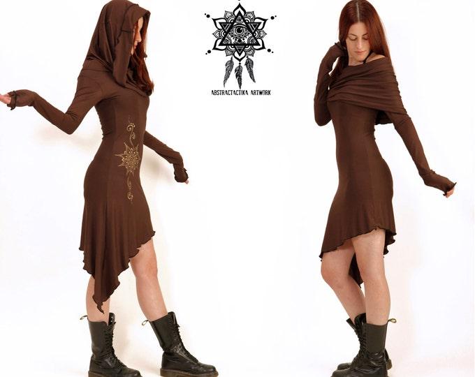 Znia Dress / Cowl Neck pixie dress / Sacred geometry dress / Elven dress / Romantic dress / hooded dress / festival dress / Elven clothing