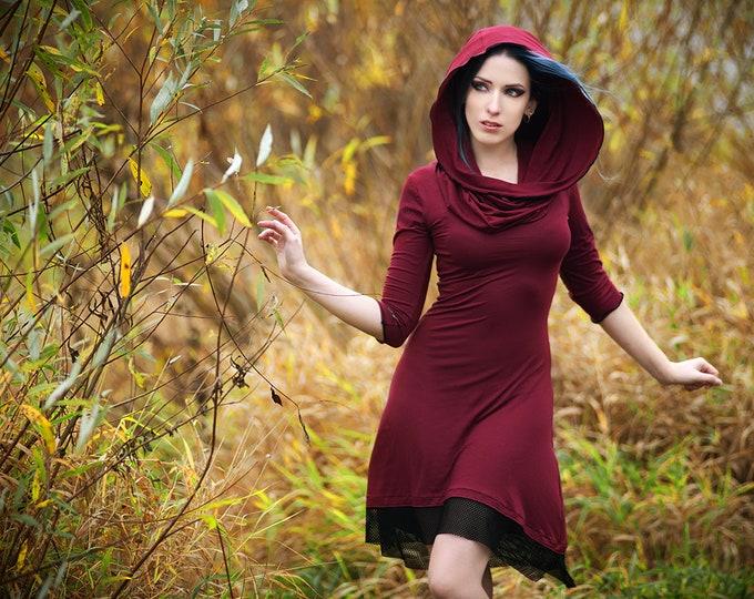 Wine Hooded dress / Cowl neck dress / Medieval dress / Festival clothing / Gothic dress / winter dress / Hippie dress/ Gypsy / Elven dress