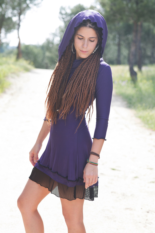 Wine Hooded dress  Cowl neck dress  Medieval dress  Festival clothing  Gothic dress  winter dress  Hippie dress Gypsy  Elven dress