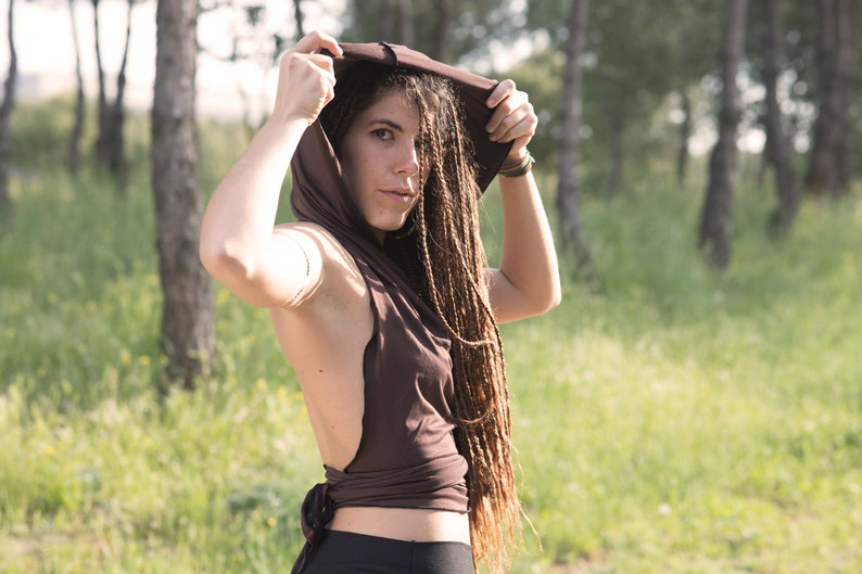 Halter hooded top Festival clothing Yoga clothes Cowl neck top Gypsy top Summer top backless top Burning man Wrap crop top Fairy