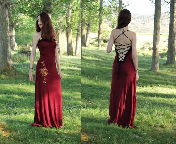 Bordeaux long wedding dress. Maxi Long boho dress. Goddess dress. Backless wine long dress. Elven maxi dress. Party dress. Mermaid dress