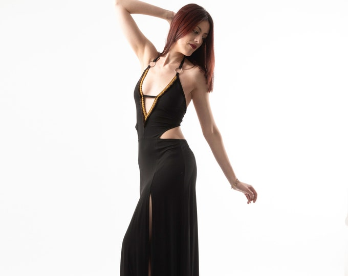 Black Boho maxi dress. Wedding boho dress. Backless summer bohemian dress. depp V-neck maxi boho dress. Native Maxi long dress. Party dress