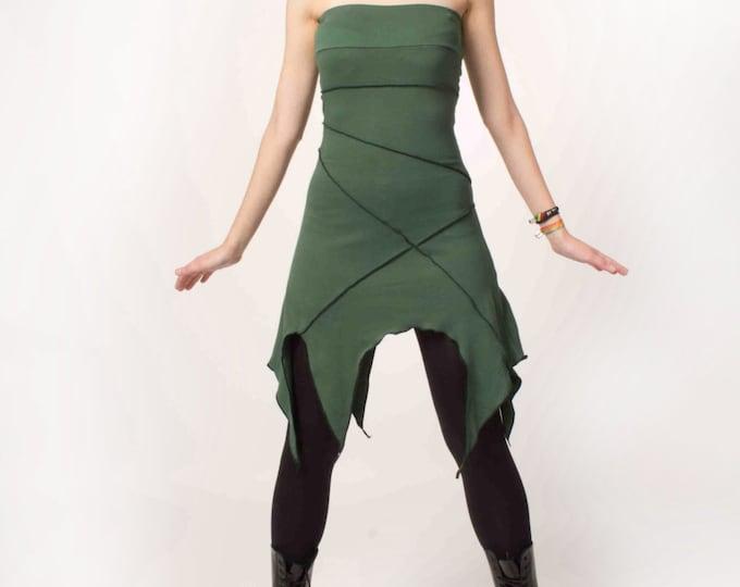 Strapless summer dress. Psy dress, Elven summer dress, Faery dress, elven clothing, fantasy dress, pixie dress, festival dress, Burning man
