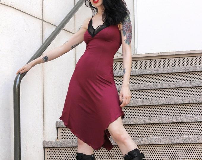 Goth Burgundy slip dress. Asymmetrical black dress. Festival dress. Black asymmetric dress. witchy mesh dress. V-neck dress. Elven dress.