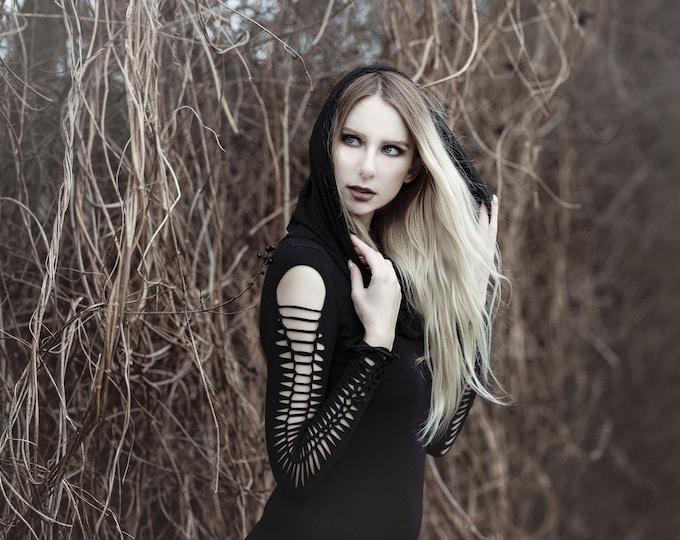 Gothic tunic dress. Braided goth dress. Cowl neck dress, fantasy dress, Pixie dress, halloween dress, hooded goth dress, hooded winter dress