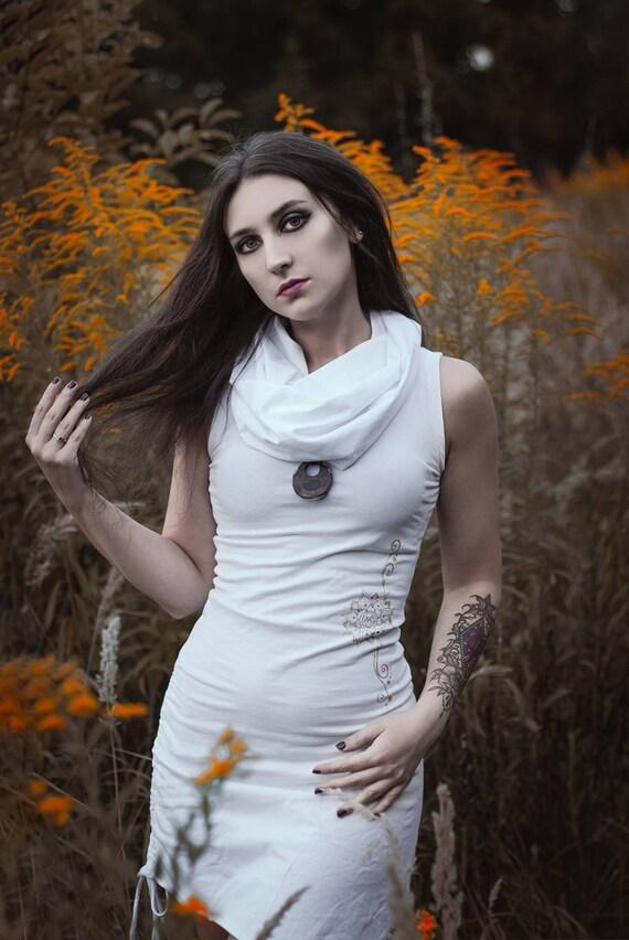 White asymmetric hooded dress / Hooded elven summer dress / White pixie dress / festival dress/ Elven hooded dress / Burning man dress