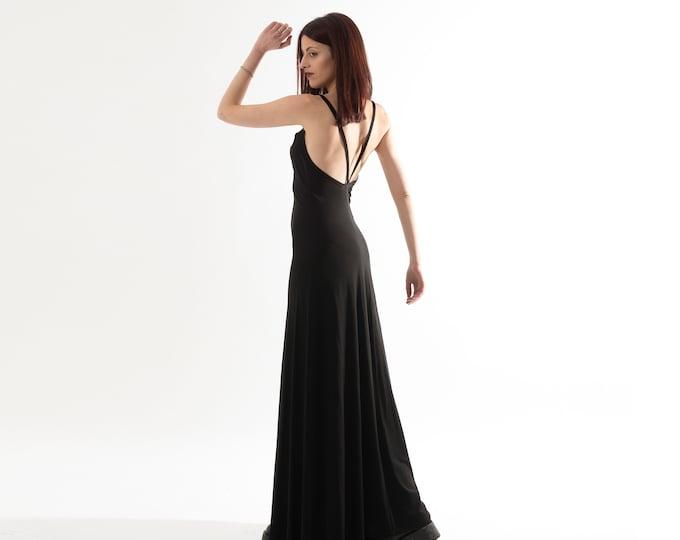 Long loose black dress. Backless boho dress. Bohemian black dress. Wedding maxi dress. Organic slip long maxi dress. Strap maxi dress. Party
