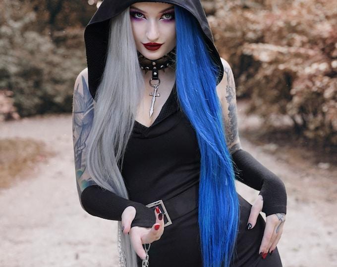 Hooded black dress. Goth hooded sleeveless dress. Steampunk hooded dress. Gothic dress. Elven clothes. Futuristic dress. Festival dress