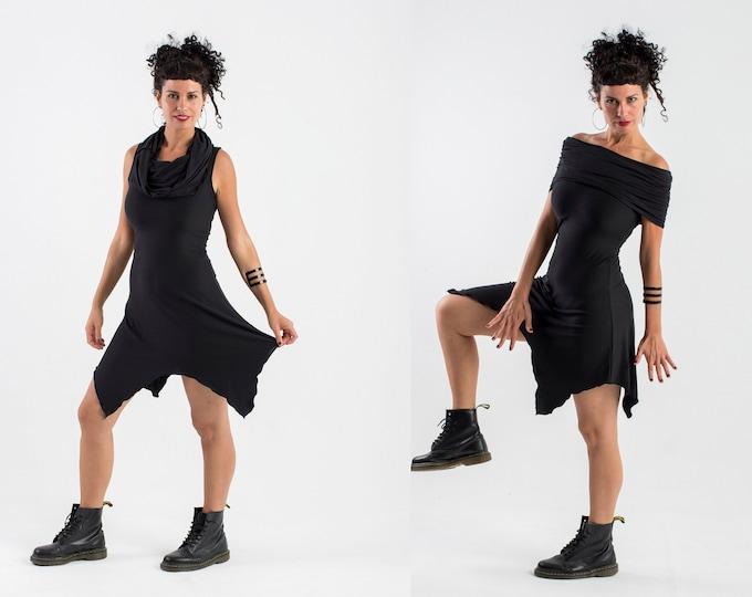 Black racerback hooded dress / Goth dress / festival hooded dress / Black Elven hooded dress/ Boho Black dress / Fairy black dress / Witchy
