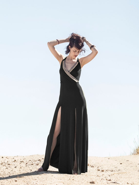 Maxi Long black dress. Wrap Boho black dress. Organic maxi boho dress. Wedding black dress. Party black long dress. Black goddess dress.