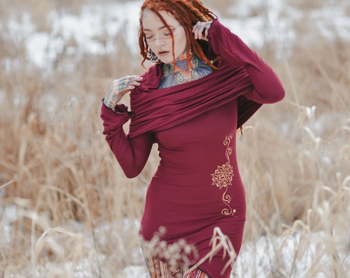 Elven hooded dress. Medieval hooded dress. Elven clothes. Gothic dress. Winter Tunic dress. Cowl wine dress. Festival clothes.  Hippie dress