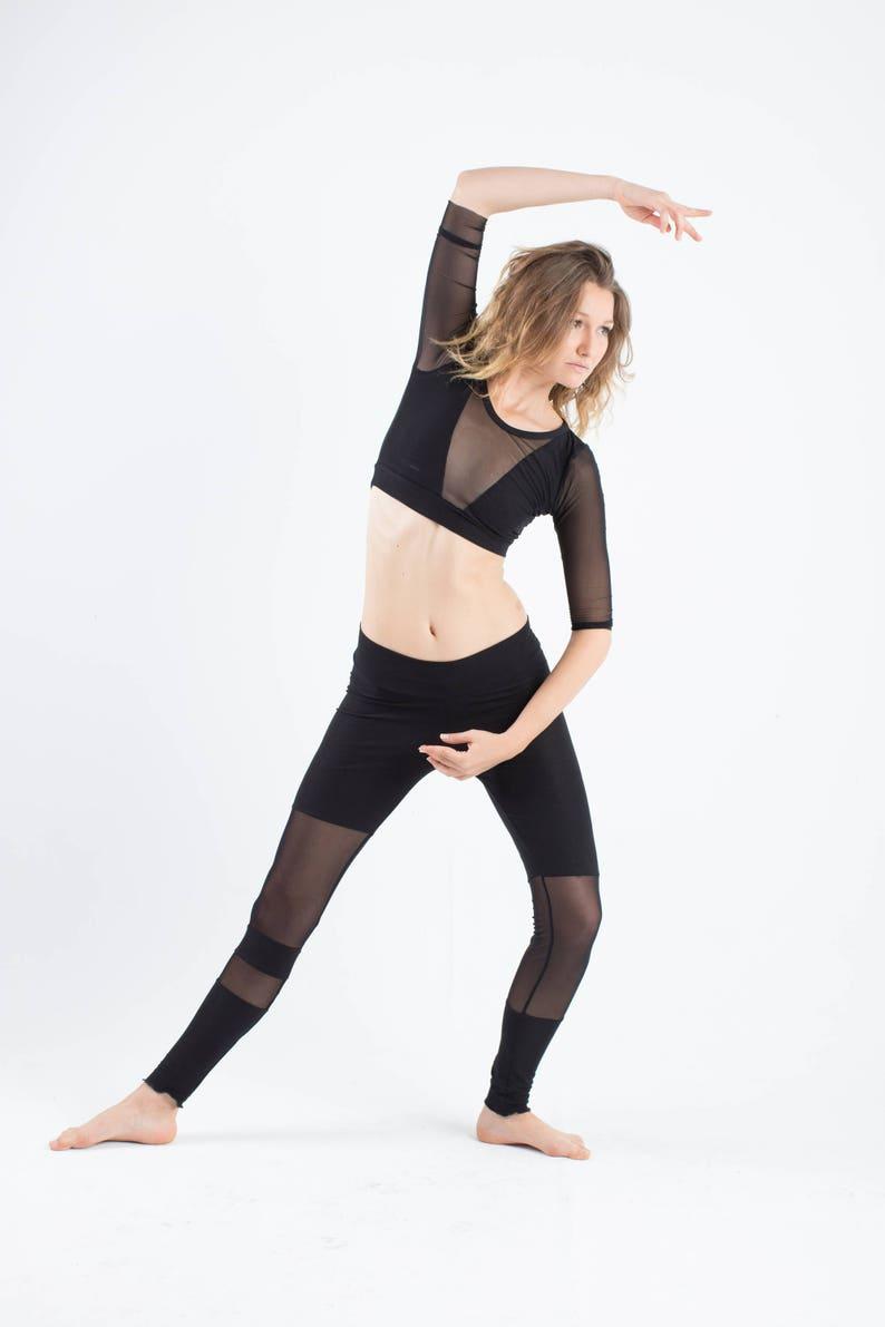 72b994d70c4 Mesh crop top gothic crop top yoga wear yoga crop top | Etsy
