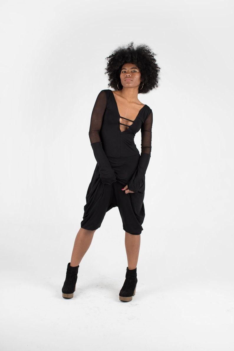 Black Jumpsuit  Women Harem Pants  Black Asymmetric Romper  Mesh Jumpsuit  Black Romper Futuristic Jumpsuit Party dress  Minimalist