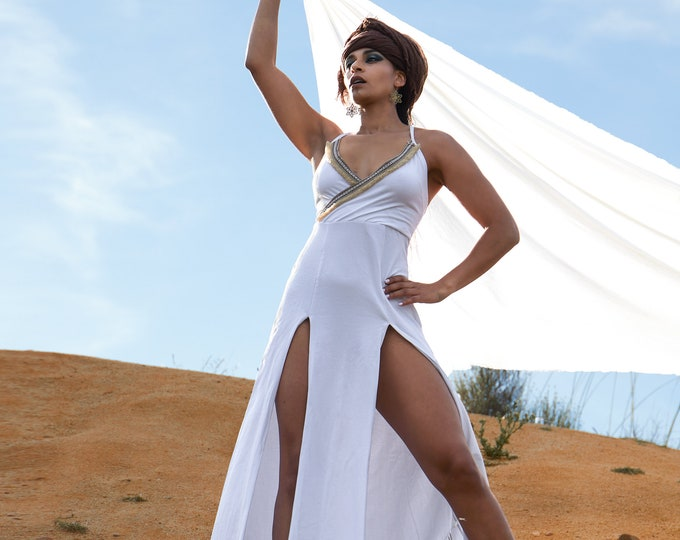 Bohemian white maxi dress. Bridesmaids maxi dress. boho tribal maxi dress. Wedding dress. black summer maxi dress. Organic clothes. Festival